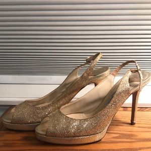 Gold Peep Toe High Heel Shoes